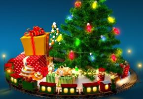 Обои елка, паровозик, игрушки, подарки, гирлянда