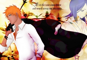Обои ichigo, rukia, soul reaper, bleach, Orange hair