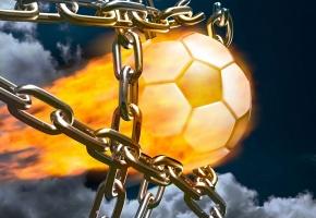 Обои мяч, гол, огонь, цепи, спорт, футбол