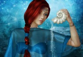 Обои ренденринг, девушка, лицо, взгляд, красные волосы, косичка, ракушка, вода, украшения