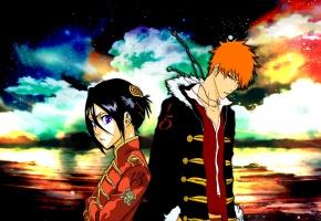 Обои ichigo, rukia, colors, bleach, soul reaper, sky