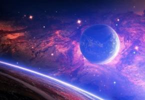 Обои звезды, Планеты, туманность, пространство, темнота, черная материя