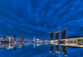 Обои Singapore, Сингапур, огни, здания, ночь, skyscrapers, вода