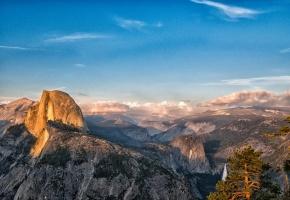 Обои горы, вид, высота, лес, панорамма, Национальный парк Йосемити, Калифорния, долина