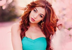 Cora Deitz, девушка, портрет, рыжая, лицо
