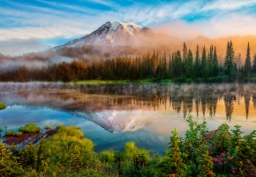 Обои США, штат Вашингтон, Каскадные горы, гора, стратовулкан, Рейнир, Mount Rainier, лето, утро, лес, озеро, туман, отражения