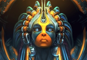 Обои робот, взгляд, девушка, лицо, краски