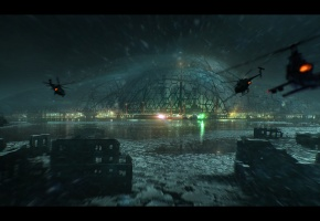 crysis 3, вертолеты, война, здания, разруха