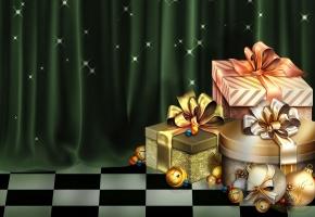 Обои рождество, christmas, Новый год, шарики, подарки, коробки