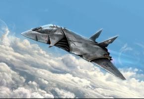 Обои самолет, полет, небо, фантастика, будущее