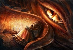 Обои дракон, девочка, книга, свечи, сон, глаз, хвост