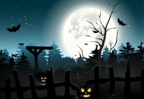 Обои halloween, Хэллоуин, жутко, ужас, тыквы, летучие мыши, луна