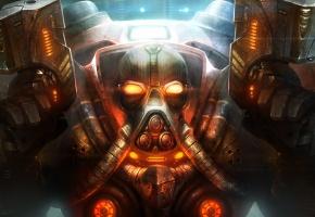 Обои робот, оружие, маска, starcraft, воин