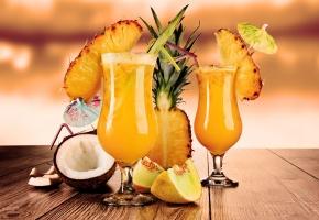 Обои ананас, бокалы, трубочки, фрукты, кокос, коктейли