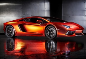 Обои Lamborghini Aventador, supercar, orange, ламборгини, автообои