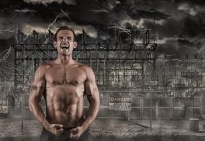 Обои мужчина, крик, фон, опасность, мышцы