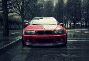 Обои bmw m3, Bmw, coupe, красная, дождь, капли
