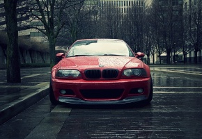 bmw m3, Bmw, coupe, красная, дождь, капли