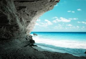 Обои water, Ocean, blue, океан, пещера, песок, скола