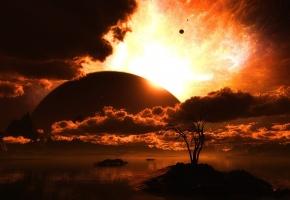 Обои вода, островки, дерево, горизонт, планеты, небо, звезды, закат