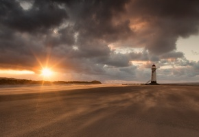 маяк, пляж, солнце, пейзаж, океан, песок