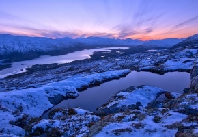 Обои Norway, закат, снег, горы, норвегия, вода