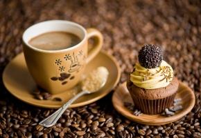 Обои кофе, десерт, чашка, ложка, зерна, шоколад, пирожное