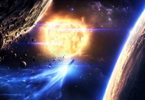 астероиды, звезды, space, planets, солнце, космический корабль