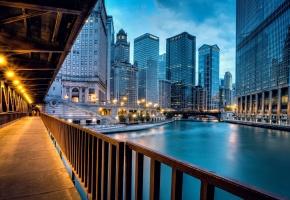 Обои Chicago, America, чикаго, америка, река, здания, огни