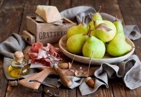 Обои груши, сыр, хамон, натюрморт, желуди, вилка