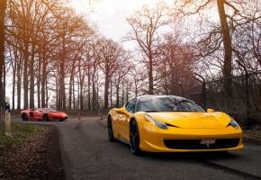 Lamborghini, Aventador, Lp 700-4, Ferrari, 458, спорткары
