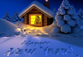 Обои Happy New Year, winter, Новый Год, зима, снег, надпись, вечер