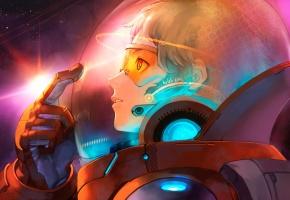 Обои скафандр, космос, очки, шлем, парень, интерфейс