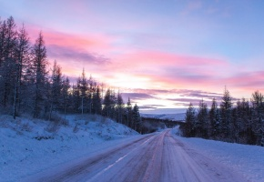 Обои закат, дорога, пейзаж, зима, снег, деревья