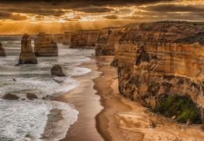 Обои море, пляж, скалы, обрыв, берег, пейзаж