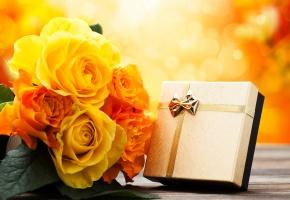 Обои букет, подарок, розы, желтые, праздник