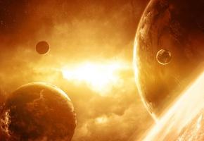 Обои туманность, планеты, звёзды, сияние, темнота