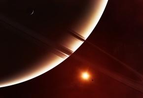 Обои кольца, звезда, спутники, планеты, вспышка