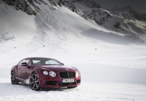 Обои Bentley, Continental, GT, V8, бентли, горы, снег