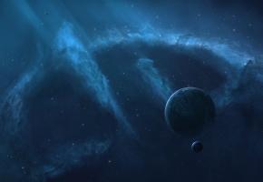 Обои звезды, планеты, пустота, туманность, сияние