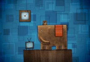 Обои слон, пушистый, фон, синий, часы, телевизор, комната