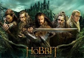 Обои Хоббит пустошь смауга, Hobbit, Толкиен, эльф, эльфийка, маг, воин, меч, оружие, Гэндальф, Леголас, Радагаст