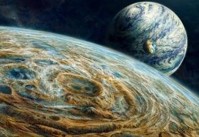 Обои поверхность, планеты, Три, бесконечный, звёзды