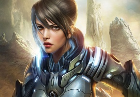 Обои девушка, воин, броня, металл, скалы, волосы