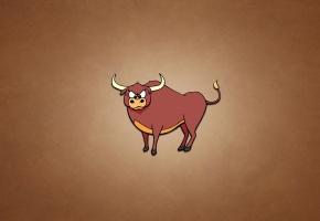 Обои бык, рогатый, животное, минимализм, взгляд