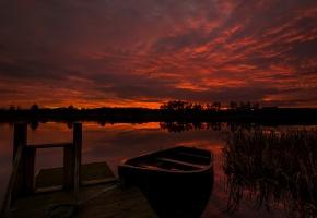 Обои ночь, озеро, лодка, причал, камыши