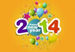 Обои новый год, 2014, шарики, хлопушки, конфетти