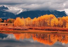 Обои горы, лес, осень, река, берег, отражение, небо, облака, тучи, пейзаж, листья