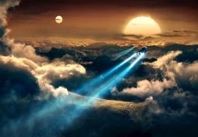 Обои космические корабли, траектория, планета, пространство, облака