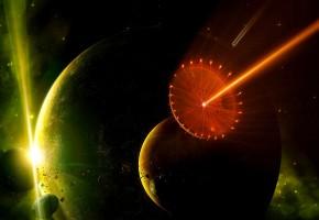 Обои планеты, астероиды, звезды, луч, planets, stars